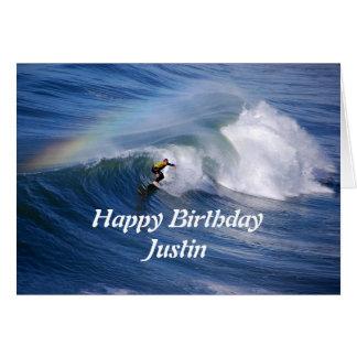 Justin grattis på födelsedagensurfare med hälsningskort