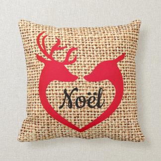 Jute Noel för Burlap för julhjorthjärta kudder Kudde