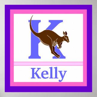 K är för för väggkonst för känguru och för flicka  print