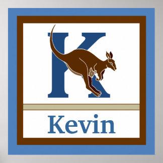 K är för för väggkonst för känguru och för pojke k print
