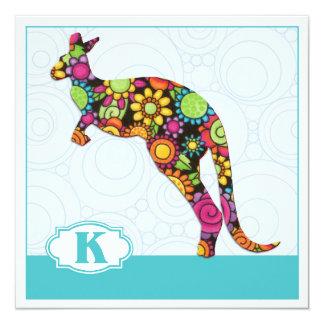 K är för känguru fyrkantigt 13,3 cm inbjudningskort