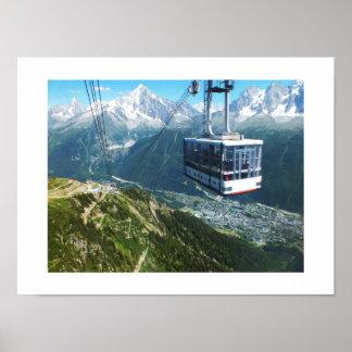 Kabelbil över Chamonix Affisch