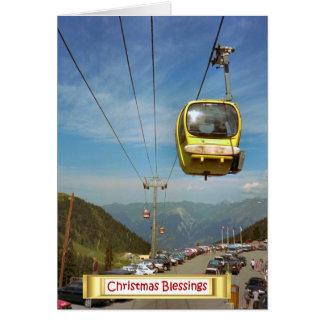 Kabelbil till Mt Blanc, fransk alperna Hälsningskort
