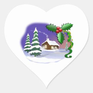 Kabin, grästräd & plats för järnekjulvinter hjärtformat klistermärke