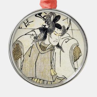 Kabuki skådespelareSamurai med Katana och pilbågen Julgransprydnad Metall