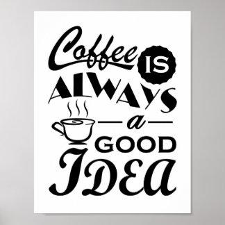 Kaffe är alltid en bra idécitationsteckendesign poster