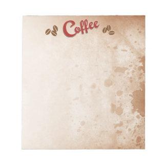 Kaffe befläckt anteckningsblock