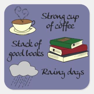 Kaffe bokar & regnar - ändra färg fyrkantigt klistermärke