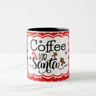Kaffe för den Santa muggen Två-Tonad Mugg
