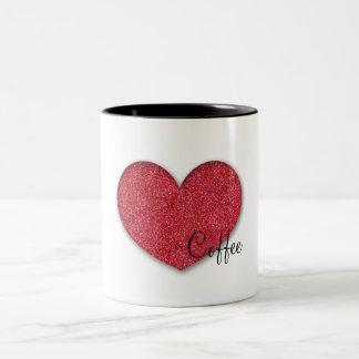 kaffe (för hjärta) Två-Tonad mugg