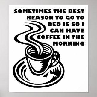 Kaffe i den roliga affischen för morgon