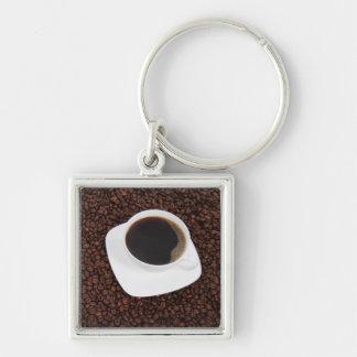 Kaffe Keychain Fyrkantig Silverfärgad Nyckelring