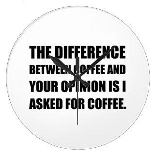 Kaffe och åsikt stor rund klocka