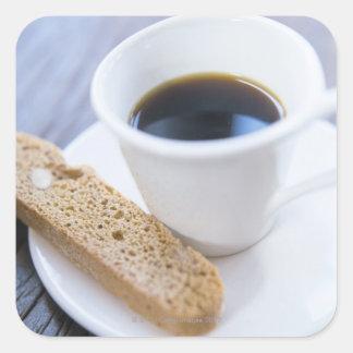 Kaffe och Biscotti Fyrkantigt Klistermärke