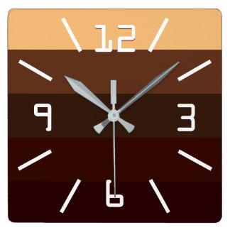 Kaffe och choklad fyrkantig klocka