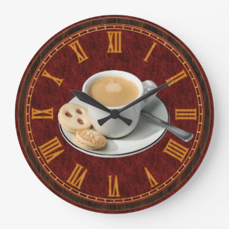 Kaffe och kakor shoppar inrikesdepartementetväggen stor klocka