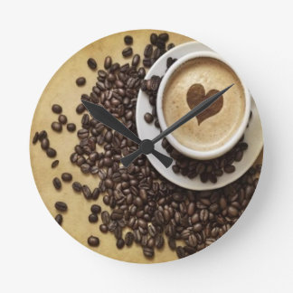 Kaffe och kärlek rund klocka
