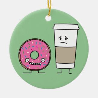 Kaffe och munk julgransprydnad keramik