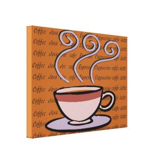 Kaffe - pastellfärgad muggdesign canvastryck