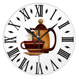 Kaffe Stor Rund Klocka