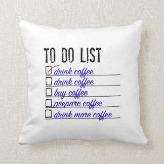 Kaffe Till-göra-listar polyesterdekorativ kudde