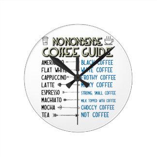 Kaffe vägleder rund klocka
