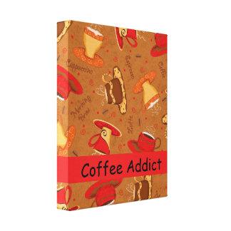 Kaffeknarkaren skräddarsy den röda & bruna canvastryck
