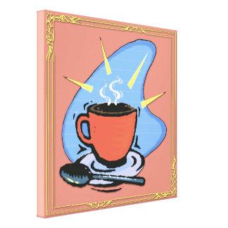 Kaffekopp Saucer, slågen in kanfas för sked design Canvastryck