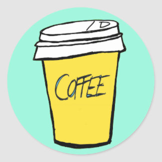 kaffekopporange/gul klistermärke