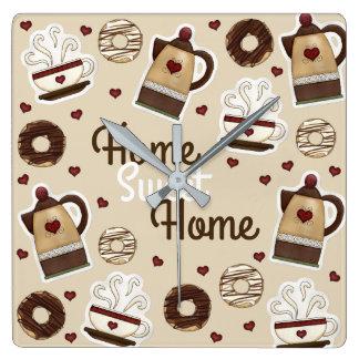 Kaffekruka och kopp fyrkantig klocka
