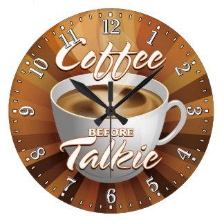 KaffeTime tar tid på den dekorativa väggen Stor Rund Klocka