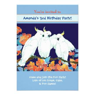 Kakaduor Barns födelsedagpartyinbjudan