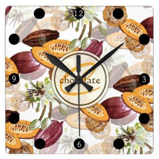 Kakaobönor, chokladblommor, naturs gåvor fyrkantig klocka