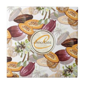 Kakaobönor, chokladblommor, naturs gåvor kakelplatta