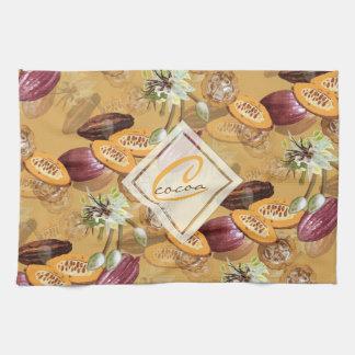 Kakaobönor, chokladblommor, naturs gåvor kökshandduk