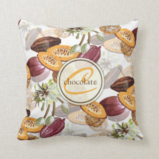 Kakaobönor, chokladblommor, naturs gåvor kudde