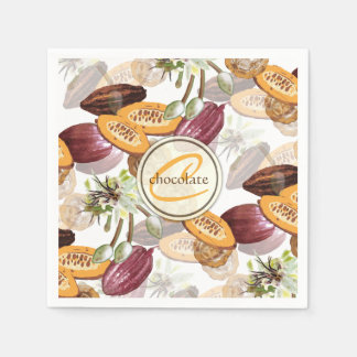 Kakaobönor, chokladblommor, naturs gåvor papper servett