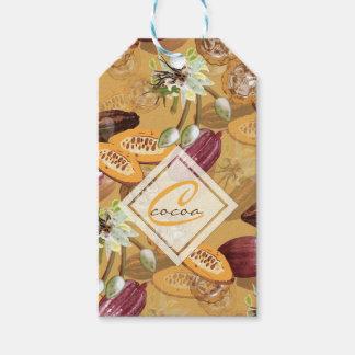 Kakaobönor, chokladblommor, naturs gåvor presentetikett