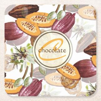 Kakaobönor, chokladblommor, naturs gåvor underlägg papper kvadrat