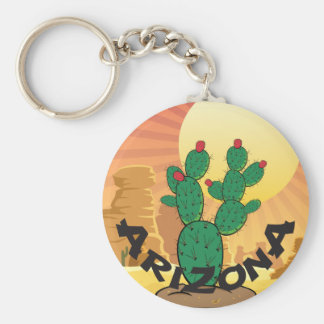 Kaktus för Prickly Pear för ARIZONA solnedgång Rund Nyckelring