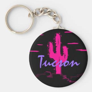 Kaktus för Saguaro för Tucson Arizona neonöken på Rund Nyckelring