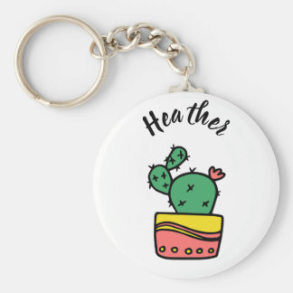 Kaktus för suckulent för elegantpersonlignamn rund nyckelring