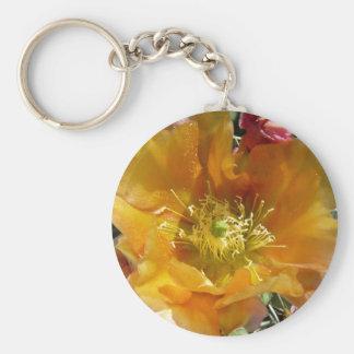 Kaktus i blom rund nyckelring