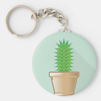 Kaktus i en kruka rund nyckelring