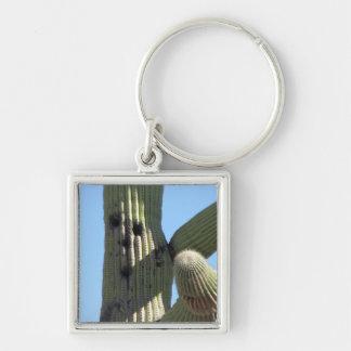 Kaktus med ett ansikte Keychain Fyrkantig Silverfärgad Nyckelring