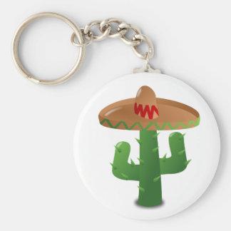 Kaktus som ha på sig sombreroen rund nyckelring