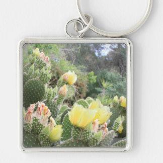Kaktusen blommar Keychain Fyrkantig Silverfärgad Nyckelring