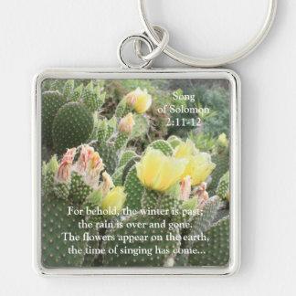 Kaktusen blommar sång av Solomon Keychain Fyrkantig Silverfärgad Nyckelring