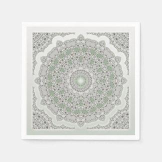 KaleidoscopeFractalMandala - grå färggrönt Pappersservett