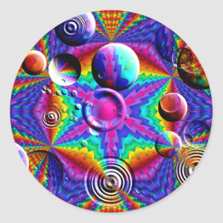 Kaleidoscopic färgans bubblar runt klistermärke